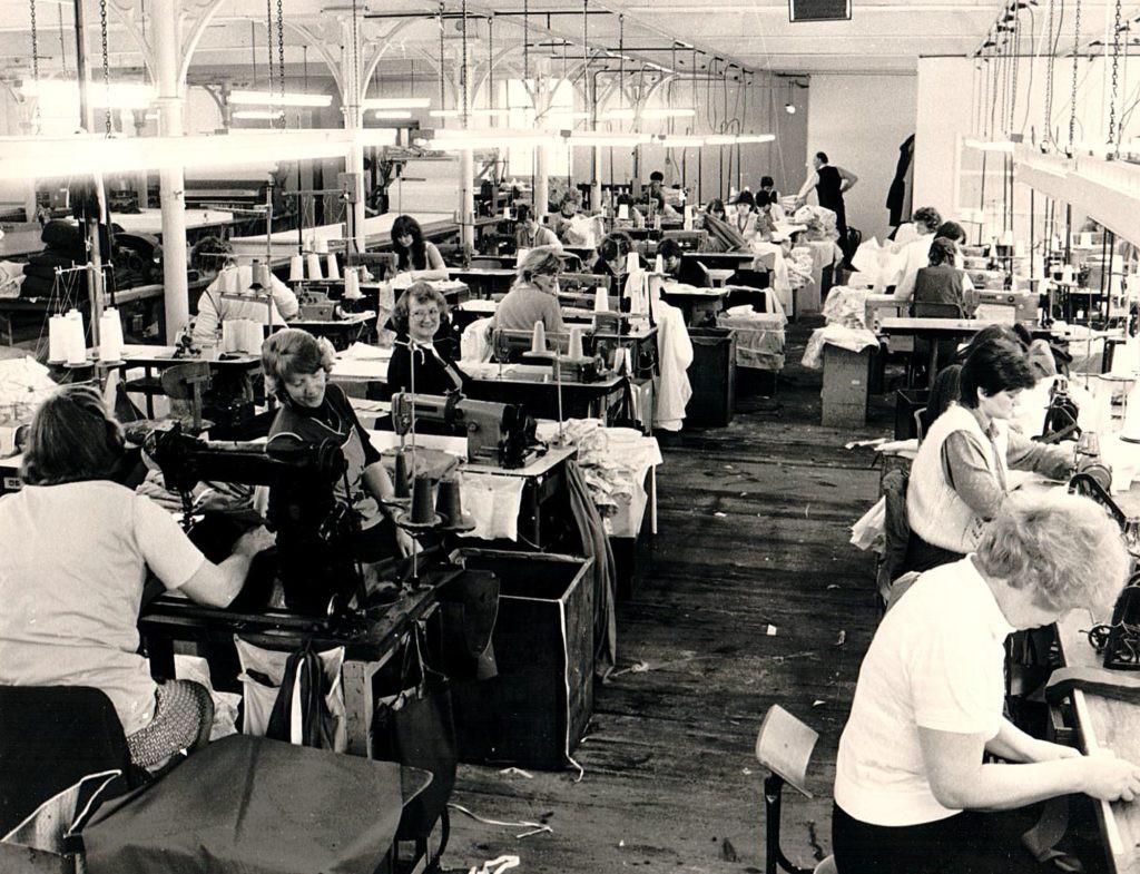 Padiham factory, Lancashire, manufacturing hospital clothing (1975)